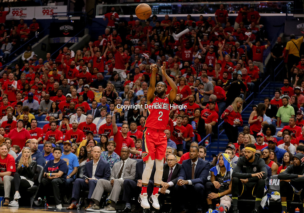 May 4, 2018; New Orleans, LA, USA; New Orleans Pelicans guard Ian Clark (2) connects on a three point basket against the Golden State Warriors during the fourth quarter in game three of the second round of the 2018 NBA Playoffs at Smoothie King Center. The Pelicans defeated the Warriors 119-100. Mandatory Credit: Derick E. Hingle-USA TODAY Sports