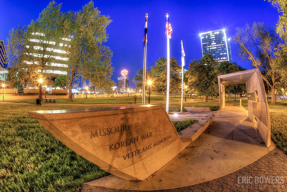 Missouri Korean War Veterans Memorial in Washington Square Park, downtown Kansas City, Missouri.