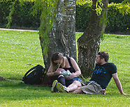 people in stratford upon avon  out in the park not following government advice