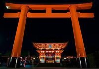 Tori Gate at night at Fushimi Inari Taisha in Kyoto, Japan.