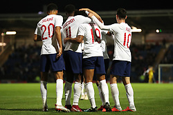 England U21 players celebrate during the UEFA European Under-21 Championship Qualifying, Group 4 match at the Proact Stadium, Chesterfield.
