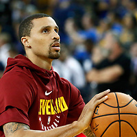 OAKLAND, CA - JUN 3: George Hill #3 of the Cleveland Cavaliers of the Cleveland Cavaliers warms up prior to Game Two of the 2018 NBA Finals won 122-103 by the Golden State Warriors over the Cleveland Cavaliers at the Oracle Arena on June 3, 2018 in Oakland, California. NOTE TO USER: User expressly acknowledges and agrees that, by downloading and or using this photograph, User is consenting to the terms and conditions of the Getty Images License Agreement. Mandatory Copyright Notice: Copyright 2018 NBAE (Photo by Chris Elise/NBAE via Getty Images)