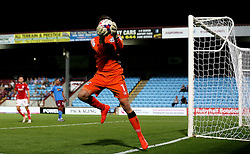 Luke Daniels of Scunthorpe United catches the ball in front of his face - Mandatory by-line: Robbie Stephenson/JMP - 23/08/2016 - FOOTBALL - Glanford Park - Scunthorpe, England - Scunthorpe United v Bristol City - EFL Cup second round