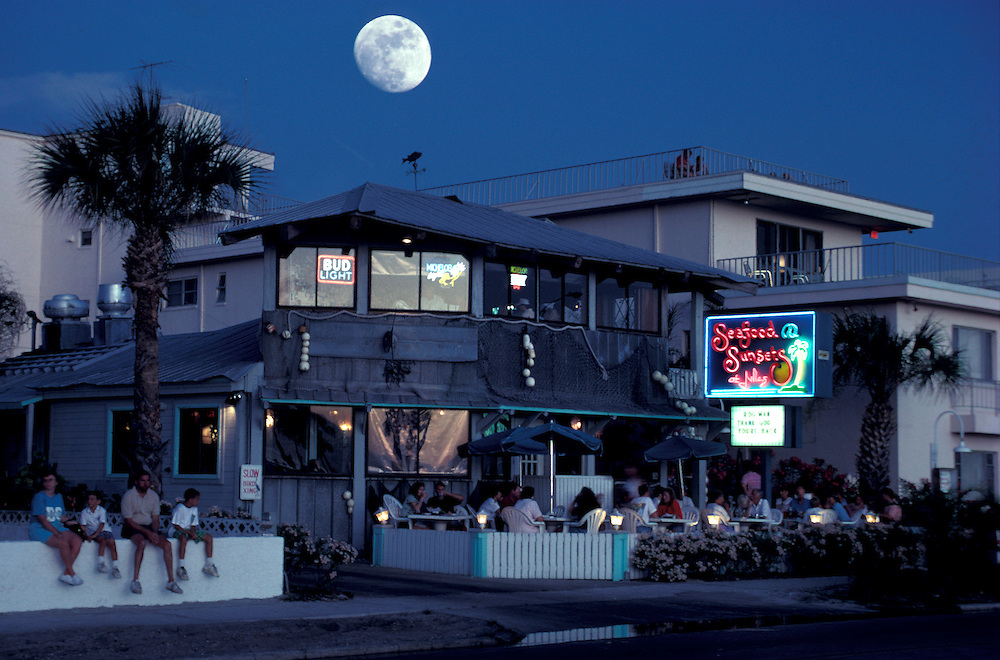 Full Moon Over Julie S Seafood Restaurant Clearwater Beach