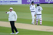 /kylae Abbott and Michael Carberry of Hampshire acknowledge each other as they secure another boundary during the Specsavers County Champ Div 1 match between Hampshire County Cricket Club and Middlesex County Cricket Club at the Ageas Bowl, Southampton, United Kingdom on 16 April 2017. Photo by David Vokes.