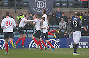 Mark Beck is congratulated after scoring Falkirk's winner - Dundee  v Falkirk - SPFL Championship at Dens Park<br /> <br />  - &copy; David Young - www.davidyoungphoto.co.uk - email: davidyoungphoto@gmail.com