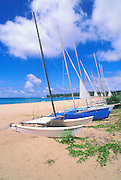 Sailboats on the beach at Hanalei Bay, North Shore, Island of Kauai, Hawaii