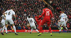 Liverpool's Roberto Firmino makes an attempt at goal during the Premier League match at Anfield, Liverpool.