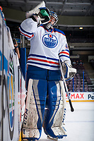 PENTICTON, CANADA - SEPTEMBER 9: Shane Starrett #40 of Edmonton Oilers stands at the bench during warm up against the Winnipeg Jets on September 9, 2017 at the South Okanagan Event Centre in Penticton, British Columbia, Canada.  (Photo by Marissa Baecker/Shoot the Breeze)  *** Local Caption ***