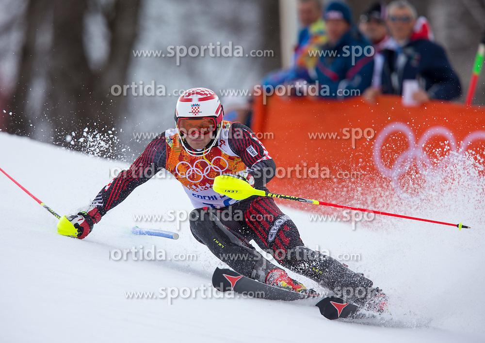 14.02.2014, Rosa Khutor Alpine Center, Krasnaya Polyana, RUS, Sochi 2014, Super- Kombination, Herren, Slalom, im Bild Natko Zrncic-Dim (CRO) // Natko Zrncic-Dim of Croatia in action during the Slalom of the mens Super Combined of the Olympic Winter Games 'Sochi 2014' at the Rosa Khutor Alpine Center in Krasnaya Polyana, Russia on 2014/02/14. EXPA Pictures © 2014, PhotoCredit: EXPA/ Johann Groder