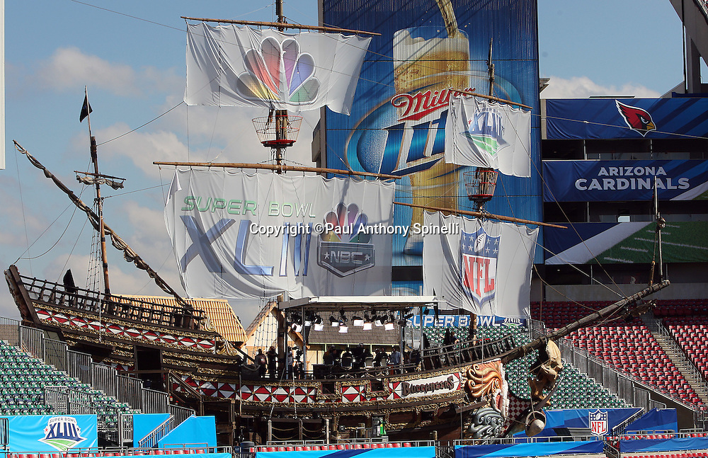 TAMPA, FL - JANUARY 27: General view of the Tampa Bay Buccaneers pirate ship decked out for the Super Bowl inside the stadium at the NFC Arizona Cardinals Super Bowl XLIII Media Day at Raymond James Stadium on January 27, 2009 in Tampa, Florida. ©Paul Anthony Spinelli