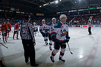 KELOWNA, CANADA - MARCH 3: Lassi Thomson #2 of the Kelowna Rockets skates to the bench to celebrate a first period goal against the Portland Winterhawks  on March 3, 2019 at Prospera Place in Kelowna, British Columbia, Canada.  (Photo by Marissa Baecker/Shoot the Breeze)