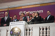 Entercom President & CEO David Field rings the closing bell at the New York Stock Exchange on Monday, November 20 to celebrate the company's transformational merger with CBS Radio. He was joined by his father, Entercom founder Joe Field and company executives like Mike Dee and Weezie Kramer.  (Photo by Kris Connor/Entercom)
