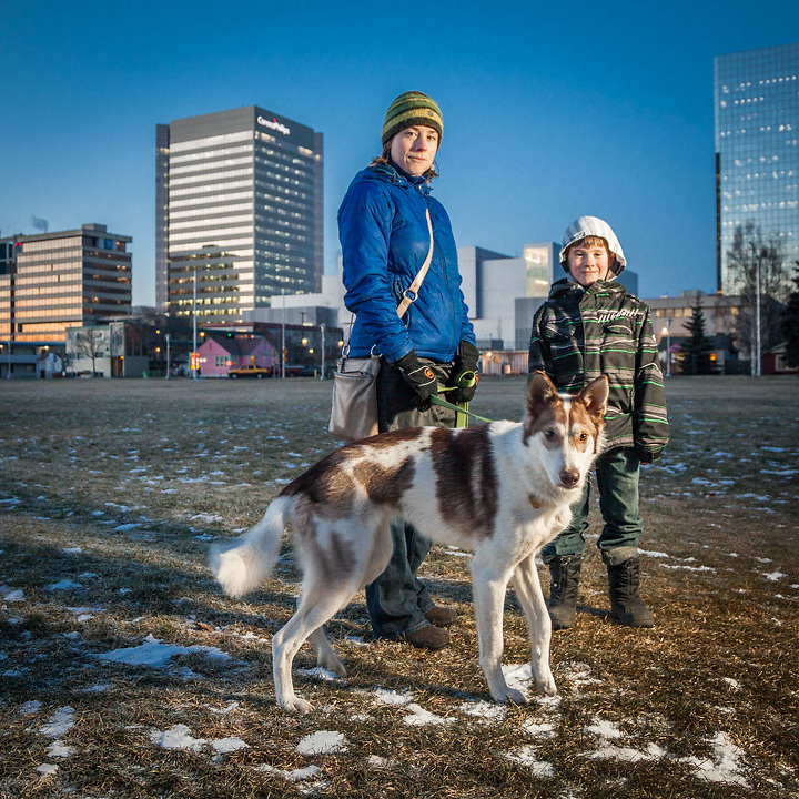 11.7.2012  Kelly Janukajtis, her son, Jackson (8), and their dog, Swiss, on the Delaney Park Strip, Anchorage, Alaska
