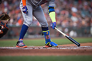 New York Mets center fielder Yoenis Cespedes (52) taps the plate while at bat against the San Francisco Giants at AT&T Park in San Francisco, Calif., on August 21, 2016. (Stan Olszewski/Special to S.F. Examiner)