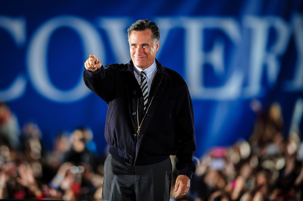 Republican Presidential candidate MITT ROMNEY speaks at a campaign rally in Leesburg , Virginia on Wednesday.
