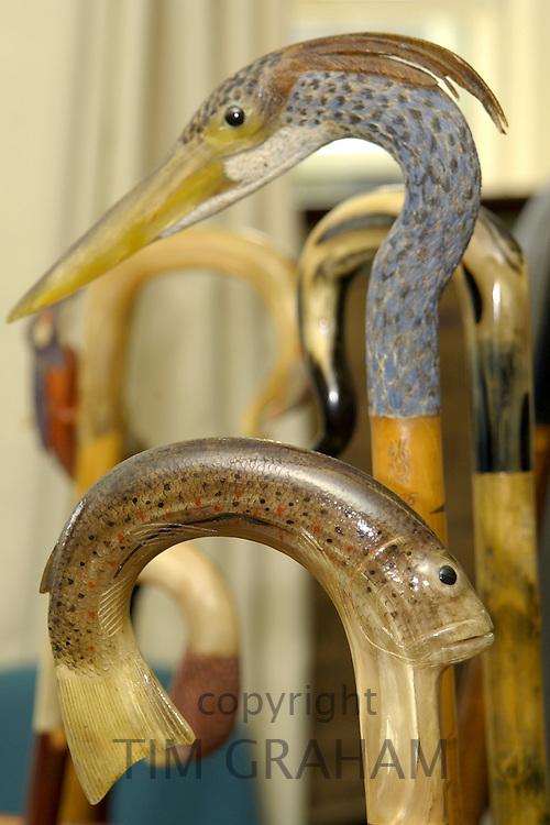 Walking canes with ornate handles, Windsor, Berkshire, United Kingdom