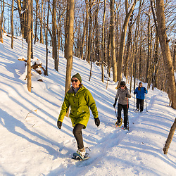 Three women snowshoeing through the forest on Indian Hill in West Newbury, Massachusetts.