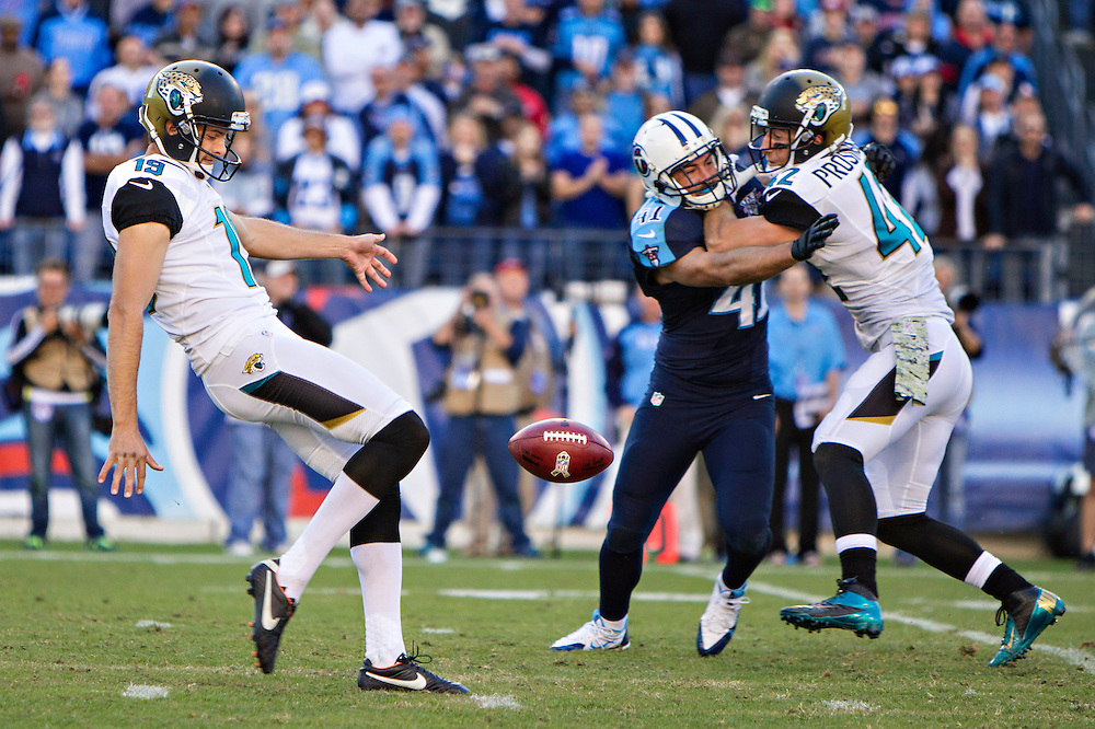 NASHVILLE, TN - NOVEMBER 10:  Bryan Anger #19 of the Jacksonville Jaguars punts the ball against the Tennessee Titans at LP Field on November 10, 2013 in Nashville, Tennessee.  The Jaguars defeated the Titans 29-27.  (Photo by Wesley Hitt/Getty Images) *** Local Caption ***Bryan Anger