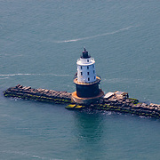 Aerial View of Harbor Of Refuge (South) Breakwater Lighthouse, Bay, Breakwater, Delaware,