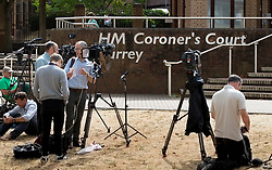 © Licensed to London News Pictures. 18/07/2018. Woking, UK. TV crews and reporters wait outside Working Coroner's Court for a verdict on the death of Private Sean Benton. The coroner will read out his full ruling today. Private Sean Benton was found with five gunshot wounds to his chest at Deepcut army base in 1995. Photo credit: Peter Macdiarmid/LNP