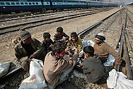 Until the next train arrives, youngsters waste their time playing cards and gambling for bottles in the middle of the tracks at the Jaipur train station.  Children, some who have run away from their families, find themselves living homeless on the train tracks waititng for the next train to arrive at the train station in Jaipur, India.  Once the train arrives they raid the train looking for plastic bottles that they can then sell.  Most will make about $1.50/day but spend most of it on glue which they are most addicted to.