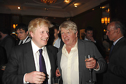 Left to right, BORIS JOHNSON and his father STANLEY JOHNSON at a party to celebrate the 180th Anniversary of The Spectator magazine, held at the Hyatt Regency London - The Churchill, 30 Portman Square, London on 7th May 2008.<br /><br />NON EXCLUSIVE - WORLD RIGHTS