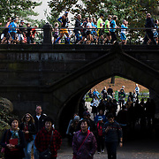 NYTRUN - NOV. 6, 2016 - NEW YORK - Runners cross a bridge on East Drive in Central Park (near E 80th Street) as they participate in the 2016 TCS New York City Marathon on Sunday afteroon. NYTCREDIT:  Karsten Moran for The New York Times