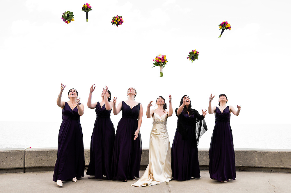Kathleen & her bridesmaids toss their bouquets, Kathleen & Brendan's Bridal Party in front of Lake Michigan, Loyola University Chicago