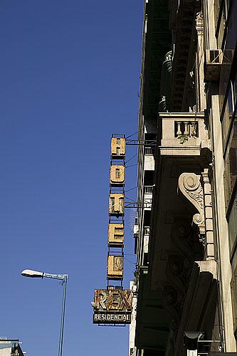 South America, Uruguay, Canelones, Montevideo, downtown, Hotel Rex, Avenida 18 de Julio, the main street.