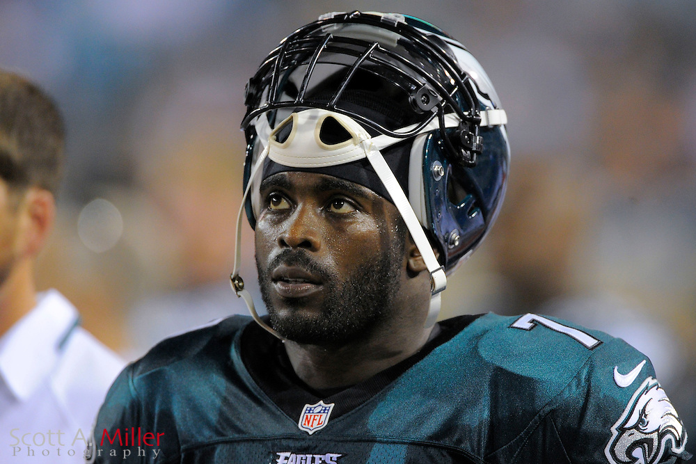 Philadelphia Eagles quarterback Michael Vick (7) on the sideline during a preseason NFL game against the Jacksonville Jaguars at EverBank Field on Aug. 24, 2013 in Jacksonville, Florida. The Eagles won 31-24.<br /> <br /> &copy;2013 Scott A. Miller