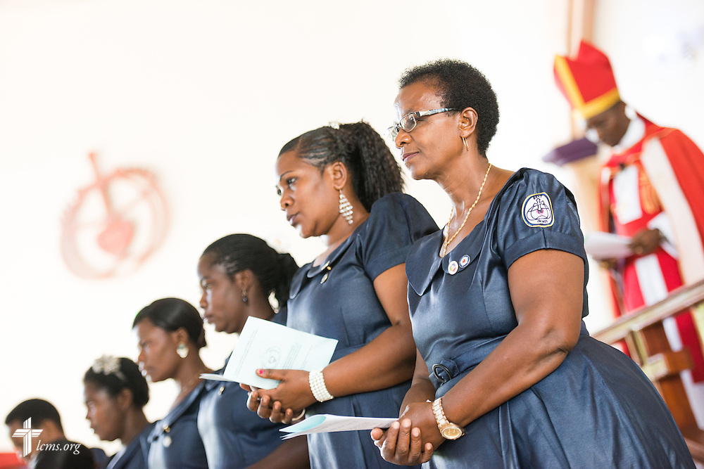 Led by Bishop Emmanuel Makala, 21 new pastoral candidates are ordained and seven new deaconesses commissioned in a service with more than 1,000 worshippers on Sunday, March 15, 2015, at the Evangelical Lutheran Church in Tanzania – South-East of Lake Victoria Diocese's (ELCT-SELVD) Ebenezer Cathedral in Shinyanga, Tanzania. LCMS Communications/Erik M. Lunsford