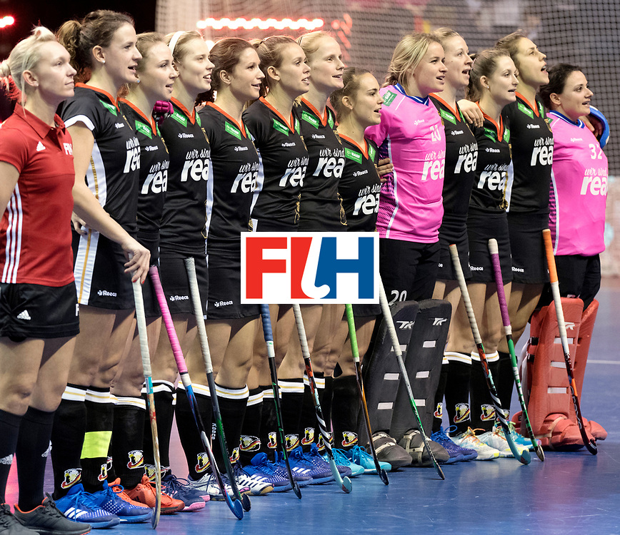 BERLIN - Indoor Hockey World Cup<br /> Final: Netherlands - Germany<br /> foto: German line up.<br /> WORLDSPORTPICS COPYRIGHT FRANK UIJLENBROEK
