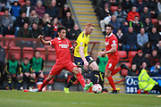 Adam Chickesen & Ryan Raylor compete for possession during the Sky Bet League 2 match between Leyton Orient and Oxford United at the Matchroom Stadium, London, England on 17 October 2015. Photo by Bennett Dean.