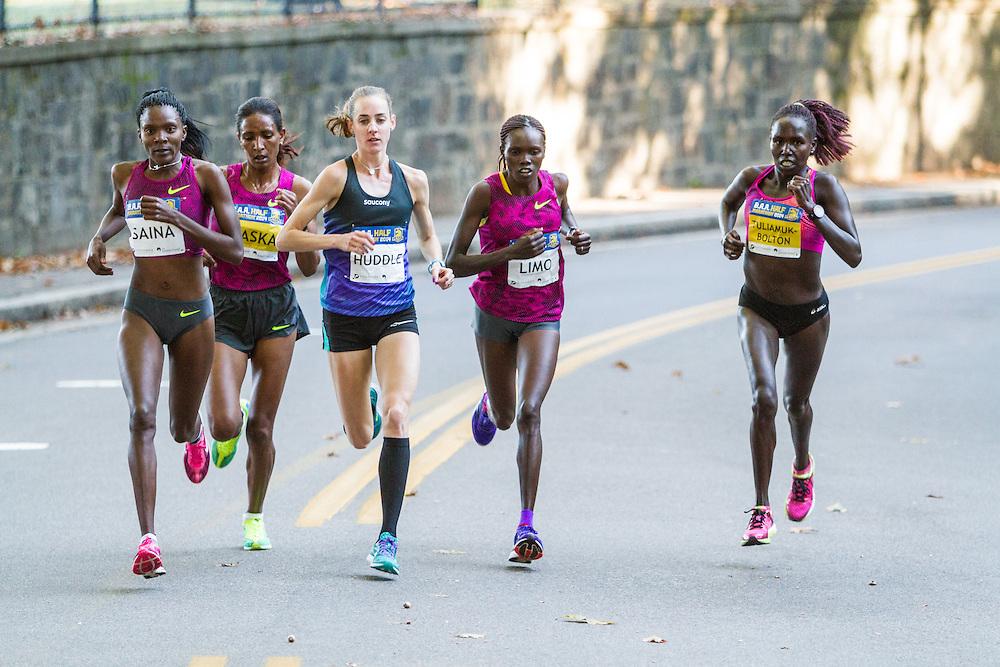 Boston Athletic Association Half Marathon, lead pack of elite women, Saina, Daska, Huddle, Lino, Tuliamik-Bolton