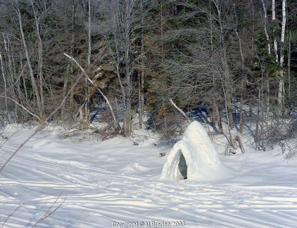 Igloo on Howe Reservoir, Marlborough, New Hampshire.