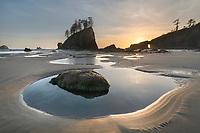 Second Beach  tide pools at sunset, Olympic National Park near La Push Washington