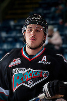 KELOWNA, CANADA - DECEMBER 2: Tyson Baillie #24 of Kelowna Rockets stands at the bench against the Kootenay Ice on December 2, 2015 at Prospera Place in Kelowna, British Columbia, Canada.  (Photo by Marissa Baecker/Shoot the Breeze)  *** Local Caption *** Tyson Baillie;