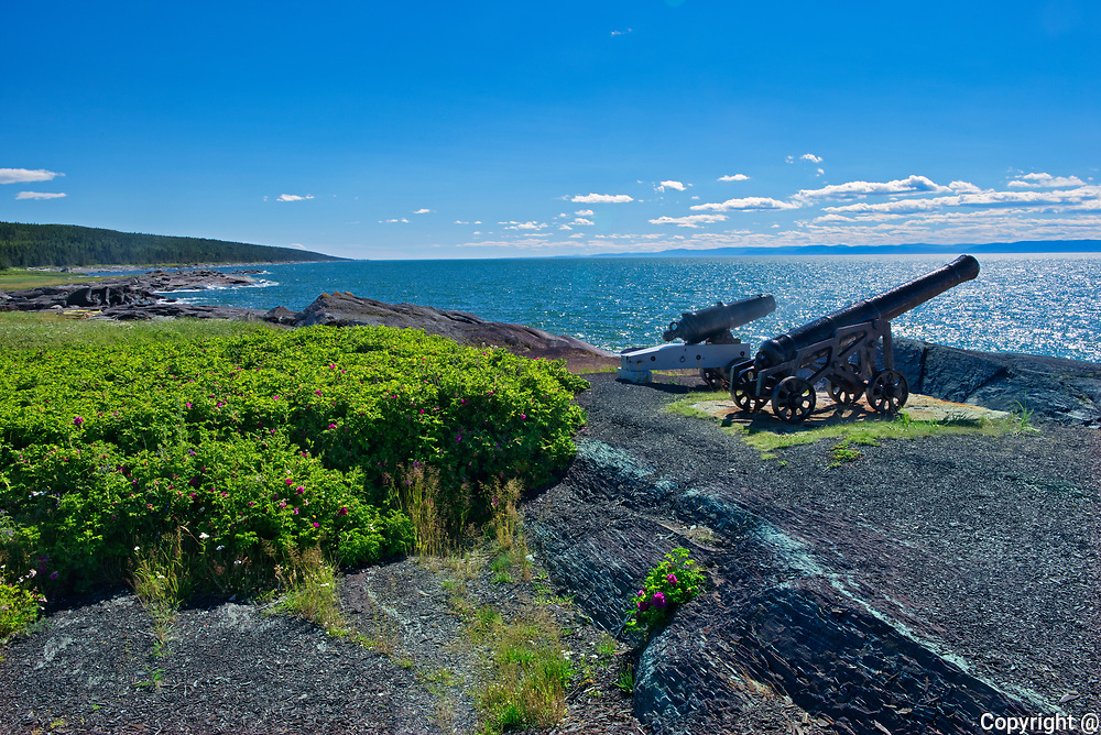 CAnons beside the Lighthouse on the island of Isle-Verte on the St. Lawrence River<br />L'Isle-Verte<br /> L'Isle-Verte<br />Quebec<br />Canada