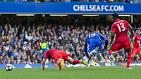 Football - 2016/2017 Premier League - Chelsea V Leicester.<br /> <br /> Diego Costa of Chelsea foes flying after getting his heel clipped by Daniel Amartey of Leicester City at Stamford Bridge.<br /> <br /> COLORSPORT/DANIEL BEARHAM