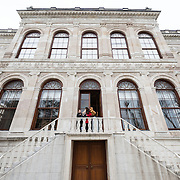 The outside of the newly opening Painting Museum in the Apartments of the Crown Prince at Dolmabahçe Palace. Dolmabahçe Palace, on the banks of the Bosphorus Strait, was the administrative center of the Ottoman Empire from 1856 to 1887 and 1909 to 1922. Built and decorated in the Ottoman Baroque style, it stretches along a section of the European coast of the Bosphorus Strait in central Istanbul.