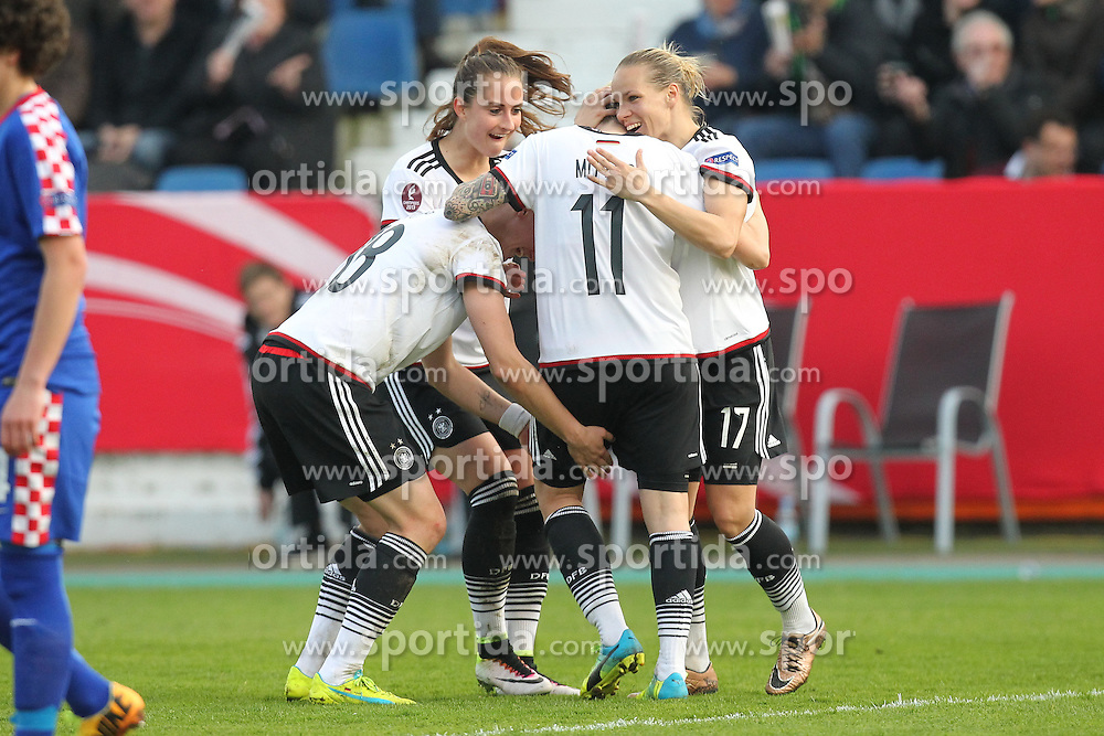 12.04.2016, Osnatel Arena, Osnabrueck, GER, UEFA Euro Qualifikation, Frauen, Deutschland vs Kroatien, im Bild Torjubel ueber das Tor zum 2:0 durch Anja Mittag (#11, Deutschland) mit Isabell Kerchowski (#17, Deutschland), Alexandra Popp (#18, Deutschland) und Sara Daebritz (#13, Deutschland) // during the UEFA Womens Euro Qualification Match between Germany and Croatia at the Osnatel Arena in Osnabrueck, Germany on 2016/04/12. EXPA Pictures © 2016, PhotoCredit: EXPA/ Eibner-Pressefoto/ Deutzmann<br /> <br /> *****ATTENTION - OUT of GER*****
