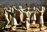 SPAIN, CATALONIA, BARCELONA statue depicting the Sardana, famous Catalan folkdance, located on Montjuich
