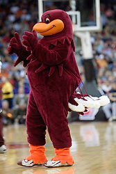The Virginia Tech mascot, the Hokie Bird during a time out against Illinois.  The #5 seed Virginia Tech Hokies defeated the #12 seed Illinois Illini 54-52 in the first round of the Men's NCAA Tournament in Columbus, OH on March 16, 2007.