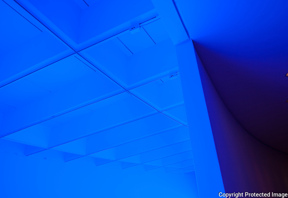 A color and light exhibition at the Hirshhorn Museum by artist Dan Flavin,c. 1974.
