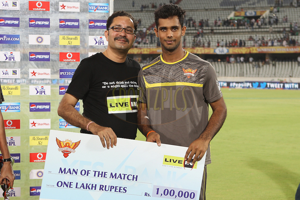 Hanuma Vihari is man of the match during match 25 of the Pepsi Indian Premier League between The Sunrisers Hyderabad and The Kings XI Punjab held at the Rajiv Gandhi International  Stadium, Hyderabad  on the 19th April 2013..Photo by Ron Gaunt-IPL-SPORTZPICS..Use of this image is subject to the terms and conditions as outlined by the BCCI. These terms can be found by following this link:..http://www.sportzpics.co.za/image/I0000SoRagM2cIEc