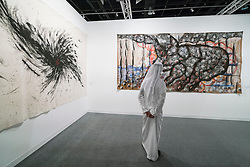 Modern paintings  on display at Abu Dhabi Art , modern art fair, held on Saadiyat Island , Abu Dhabi in November 2015 , United Arab Emirates