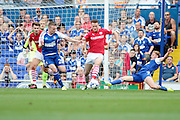 Ipswich Town midfielder Teddy Bishop loses control in the box during the EFL Sky Bet Championship match between Ipswich Town and Barnsley at Portman Road, Ipswich, England on 6 August 2016. Photo by Nigel Cole.