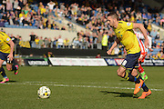 Oxford midfielder Liam Sercombe takes and misses a penalty during the Sky Bet League 2 match between Oxford United and Stevenage at the Kassam Stadium, Oxford, England on 25 March 2016. Photo by Alan Franklin.