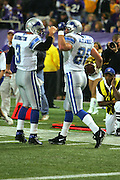 MINNEAPOLIS - NOVEMBER 21:  Tight end Stephen Alexander #86 of the Detroit Lions celebrates with quarterback Joey Harrington #3 after catching a one yard touchdown pass from Harrington in the first quarter against the Minnesota Vikings at the Hubert H. Humphrey Metrodome on November 21, 2004 in Minneapolis, Minnesota. The Vikings defeated the Lions 22-19. ©Paul Anthony Spinelli  *** Local Caption *** Stephen Alexander;Joey Harrington